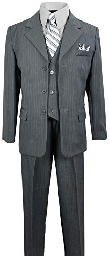 Boys Pinstripe Suit in Grey with Matching Tie Size 10 ()