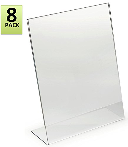 Acrylic Film - 8.5 x 11-Inches Slant Back Acrylic Sign Holder Ad Frame, Clear (8 Pack)