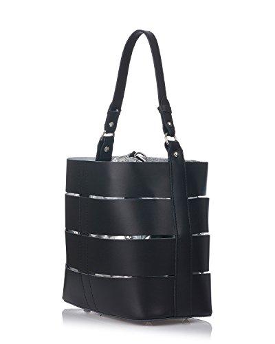Laura Moretti - Bolso de piel auténtica con bolso interior brillante Negro