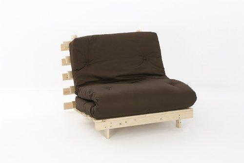 Comfy Living 3ft LUXURY Single (90cm) Wooden Futon Set PREMIUM LUXURY Chocolate Mattress