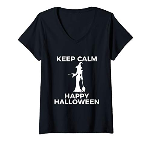 Womens Spectacular Cute Witch Keep Calm Happy Halloween V-Neck T-Shirt (Create Your Own Keep Calm T Shirt)