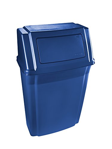 (Rubbermaid Commercial Products 1829401 Rubbermaid Commercial Slim Jim Wall Mount Trash Can, 15 gal, Blue )