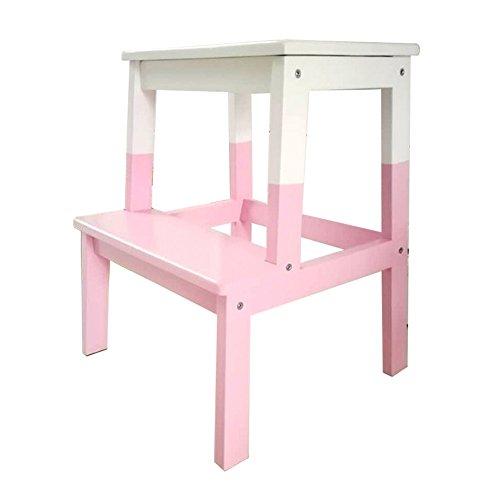 LXLA- Solid Wood 2 Step Stool Hosuehold Mini Ladder Stool Multi Purpose Change Shoe Bench Indoor Shelf Flower Stand For Kids, Adult (Color : Pink)