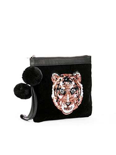 - Women Black Velour Sequin Tiger Wristlet Clutch Purse Evening Bag