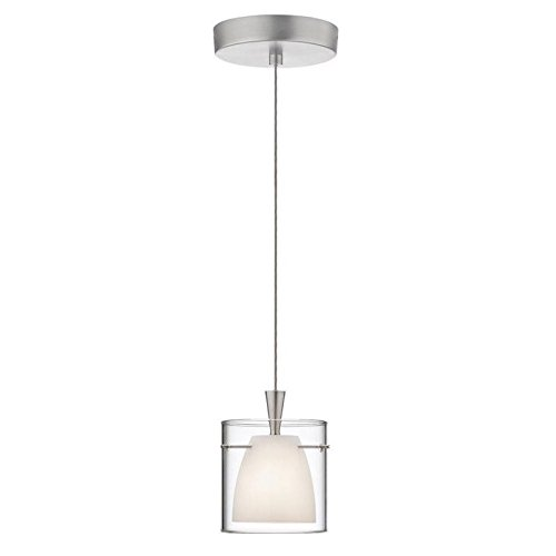 Dainolite Lighting DLSL309-WH-SC Single Pendant with Frosted White/Clear Glass, Satin Chrome Finish (Dainolite Satin Pendant)
