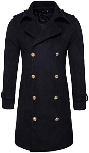 Pandaie-Mens Product Waterproof Jackets for Men Lightweight Long. Men`s Lapel Woolen Coat Blouse Black