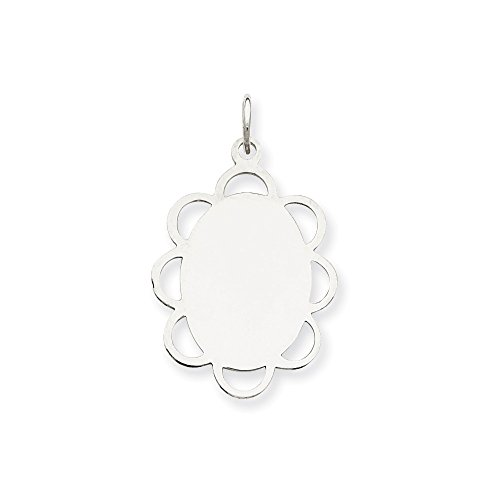 Charm Engravable Disc (Mireval Sterling Silver Engravable Disc Charm (25 x 18mm))