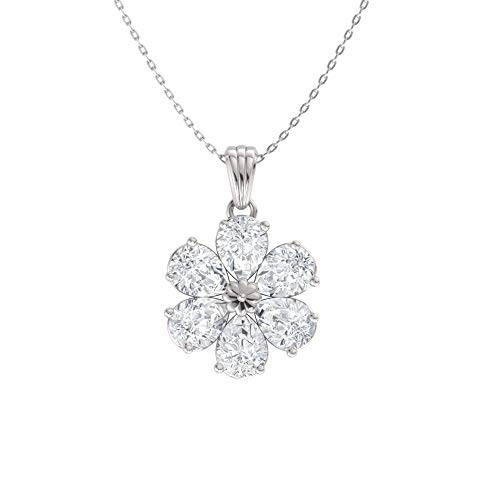 (Diamondere Natural and Certified Pear Cut White Topaz Flower Necklace in 14k White Gold | 0.90 Carat Pendant with Chain)