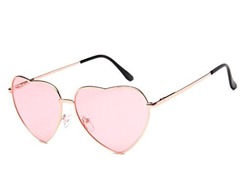 Chezi Women's Metal Colorful Tinted Lens Heart Sunglasses (Gold, light - Sunglasses Aviator Heart