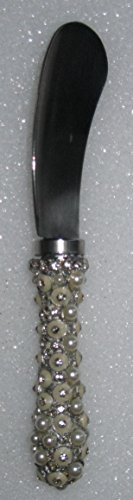 Beaded, Stone, and Pearl Handled Appetizer or Cheese Spreader 6.5 Inch