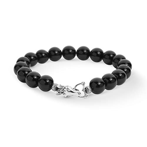Bracelet Silver Agate Black (American West Sterling Silver Black Agate Gemstone Bead and Horse Clasp Bracelet Size Large)