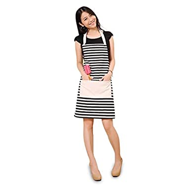 Cotton Canvas Women's Apron with One Convenient  Pocket Durable Stripe Kitchen and Cooking Apron for Women Professional Stripe Chef Apron for Cooking, Grill and Baking(black and white)