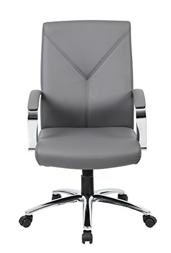 Boss Office Products B10101-GY LeatherPlus Executive Chair in Grey
