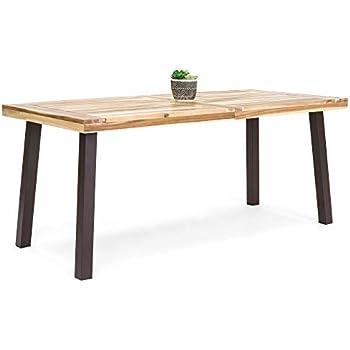 Teak Finish Black Great Deal Furniture 306118 Zak Outdoor 71 Acacia Wood Dining Table
