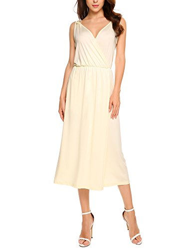 Dress Ruched Sexy Slip (ANGVNS Women's Sexy Spaghetti Strap V Neck Casual Sleeveless Slip Dress S-XL(Beige L))