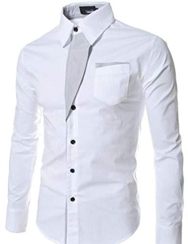 Cromoncent Men Contrast Color Lapel Neck Casual Pocket Striped Button Down Shirts