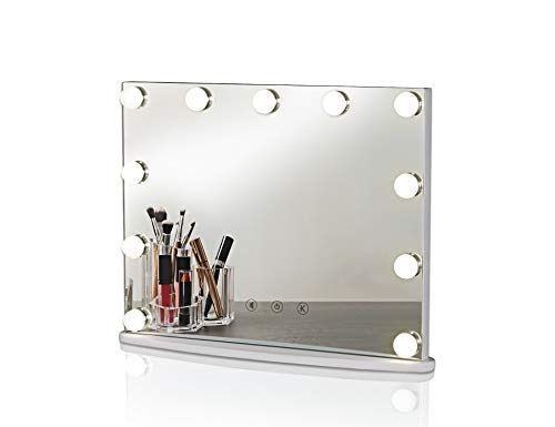 LUXFURNI Hollywood Tabletop Makeup Mirror w USB-Powered Dimmable Light, Touch Control, Cold Warm Light M