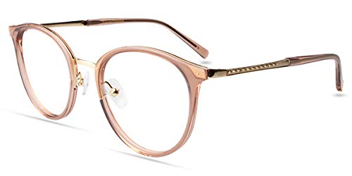 Firmoo Blue Light Blocking Glasses Fashion Round Eyewear Frame for Computer Anti Blue Light Anti Fatigue in Brown