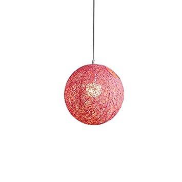 TOOGOO Red Bamboo Rattan and Hemp Ball Chandelier Individual Creativity Spherical Rattan Nest Lampshade