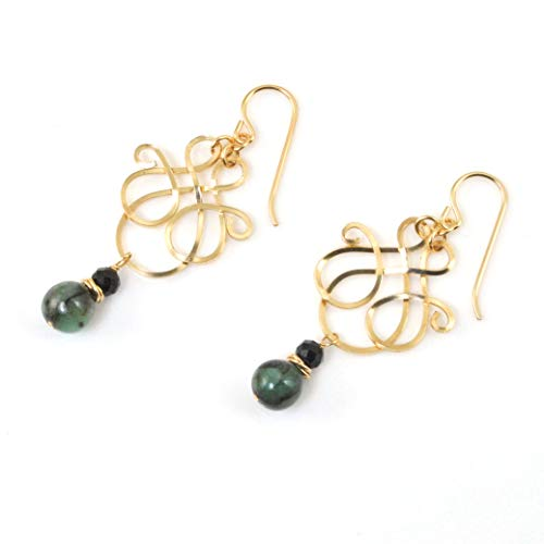 (Genuine Emerald Filigree Earrings with Black Tourmaline Hand-Forged in 14K Gold Filled)