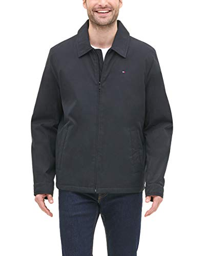 Tommy Hilfiger Men's Classic Micro-Twill Open Bottom Zip Front Jacket, Black, Small (Tommy Hilfiger Shop Online)