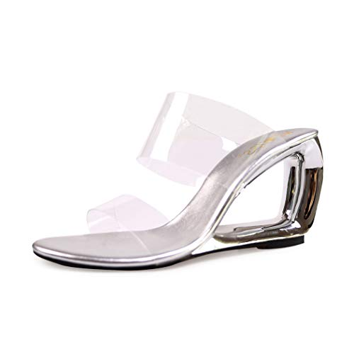 wetkiss Women Slides Sandals Wedge Slippers Shoes Transparent PVC Shoes Clear Slides Sandals (Slippers Pvc)