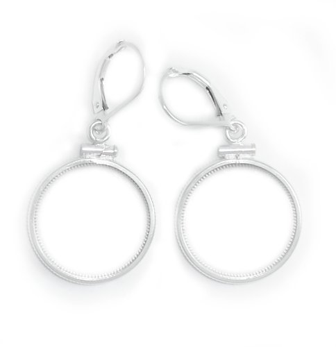US Mercury Dime Coin Bezel Earrings Sterling Silver Coin Edge Without Coin ()