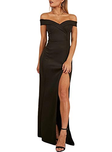 ZKESS Womens Sexy Slim Evening Dress Off Shoulder Side Split Formal Prom Gowns Black L 12 14 (Gown Slim Prom)