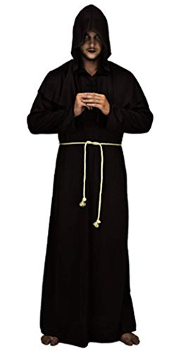 LM Vestido De Monje Medieval De Halloween Monje Traje De Bruja Monje Traje Sacerdote Traje Cristiano,Black,OneSize