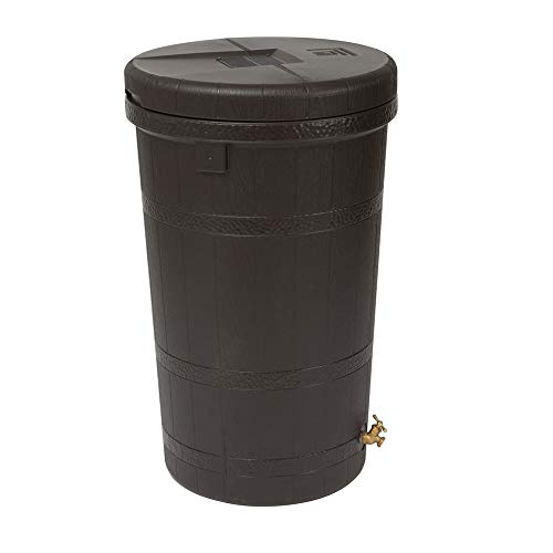50 Gallon Jug Rain Wizard Aspen Eco Rain Barrel Removable Top Brown Finish with Wood Grain Look Lid Secures with Drill Points Includes a Brass Spigot Constructed of Plastic Size - Woodgrain Barrel Rain