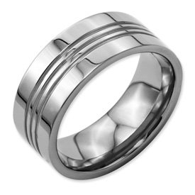Titanium Grooved 9mm Polished Band Best Quality Free Gift Box