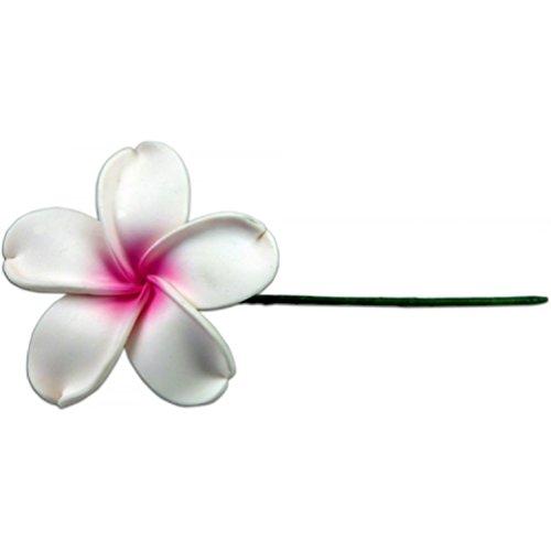 Plumeria Hair Pick (Fimo Flower Flexible Hair Pick Plumeria White & Pink)
