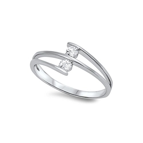 (.925 Sterling Silver Tension Set Cubic Zirconia Ring - Size 9)