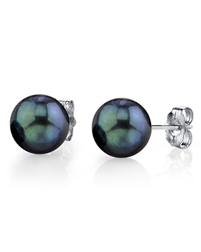14K-Gold-65-70mm-Black-Akoya-Cultured-Pearl-Stud-Earrings-AAA-Quality