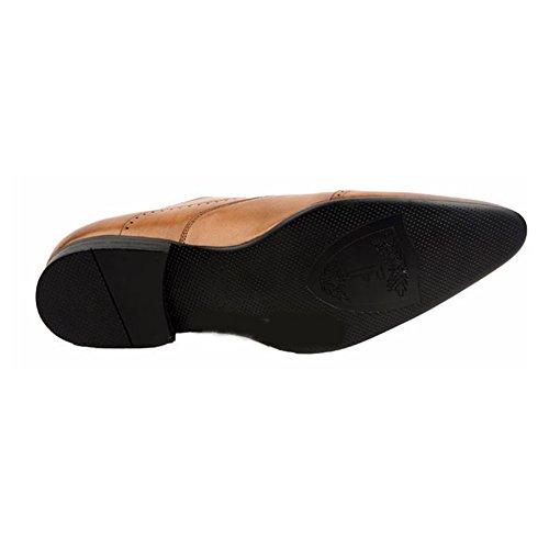 Santimon-mens Echt Nubuck Leer Gesneden Zakelijke Schoenen Van Oxford Bruin