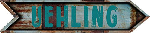 "Any and All Graphics UEHLING 4""x18"" Arrow Shaped Rustic Antique Vintage Look Composite Aluminum Novelty décor Sign."