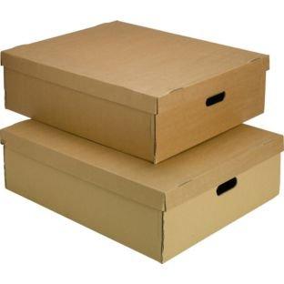 StorePAK Set of 2 50 Litre Cartulina Underbed Con tapa Cajas, Tamaño H18.4