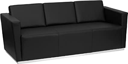 Flash Furniture HERCULES Trinity Series Contemporary Black Leather Sofa  With Stainless Steel Base