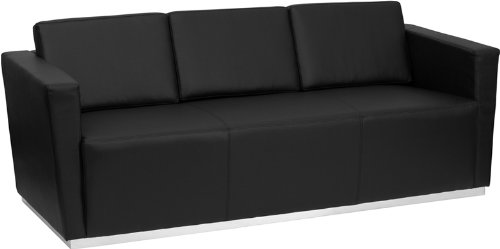 (Flash Furniture HERCULES Trinity Series Contemporary Black Leather Sofa with Stainless Steel Base)