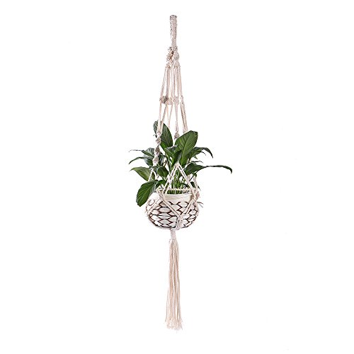 Indoor Outdoor Hanging Planter Basket, Wall Art Cotton Rope 4 Legs 39 Inch (Out Wall Tapestry)