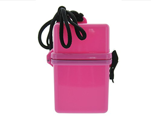 VAS WATERPROOF DUST RESISTANT SPORTS DRY BOX CASE | ID HOLDER | CREDIT CARDS | LANYARD | MONEY | BADGE | CRUISE | TRAVEL | BEACH | POOL | BOATING (PINK, TWO PACK)