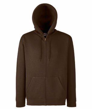 Fruit of the Loom Zip Kapuzen Sweatshirt Hooded Sweater mit Reissverschluss - Größen  S, M, L, XL, XXL, 15 Farben Hoodie Zip-Pullover, Größe L;Farbe Chocolate