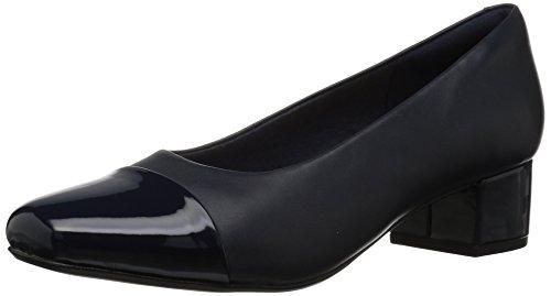 (CLARKS Women's Chartli Diva Pump, Navy Leather/Synthetic Combi, 080 M US )