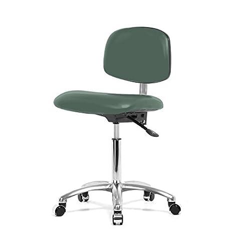 Top Medical Cleanroom Lab Chair 19u0026quot;   24u0026quot;   Aqua Grey Vinyl    Chrome