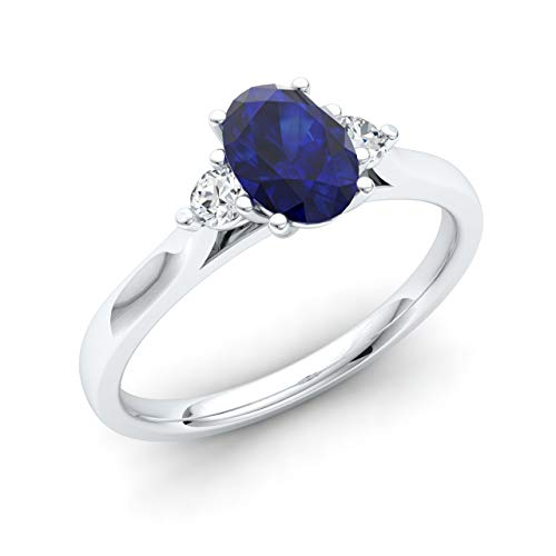 Diamondere Natural and Certified Oval Cut Blue Sapphire and Diamond Engagement Ring in 14K White Gold | 0.72 Carat Three Stone Ring for Women, US Size 9