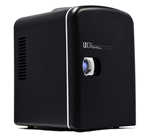 Uber Appliance UB-CH1 Mini Fridge 6 Can/4 Liter Capacity Portable Thermoelectric Cooler Warmer personal refrigerator for home, office, bedroom, dorm, car and outdoor - Matte Black - 110V AC 12V DC ()