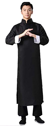 EKT-C Chinese Dress Republic of China Costume Male Long Gown[S~5XLsize/Black] (S) -