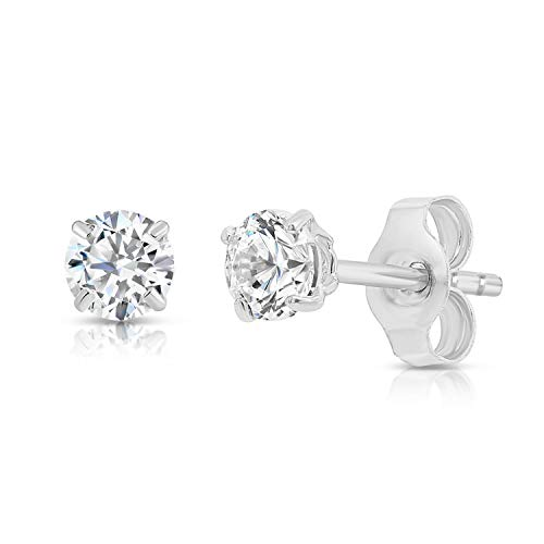 14k White Gold Solitaire Round Cubic Zirconia Stud Earrings with Gold butterfly Pushbacks (4mm)