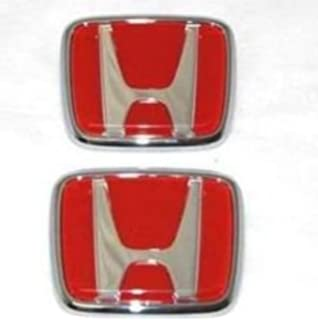 Amazoncom WZ Pc Red FRONT Pc BACK REAR EMBLEM SET FIT FOR - Acura rsx front emblem