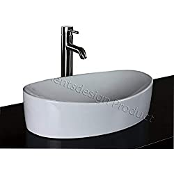 ELIMAX'S Bathroom Ceramic Vessel Sink 7756CL3 With Brushed Nickel Faucet & Drain